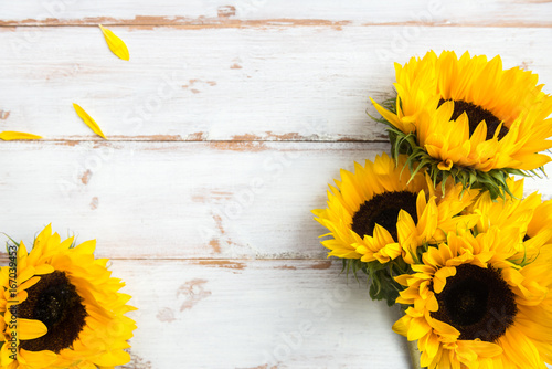 Obraz Yellow Sunflower Bouquet on White Rustic Background - fototapety do salonu