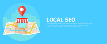Local Seo Banner, Map And Shop...