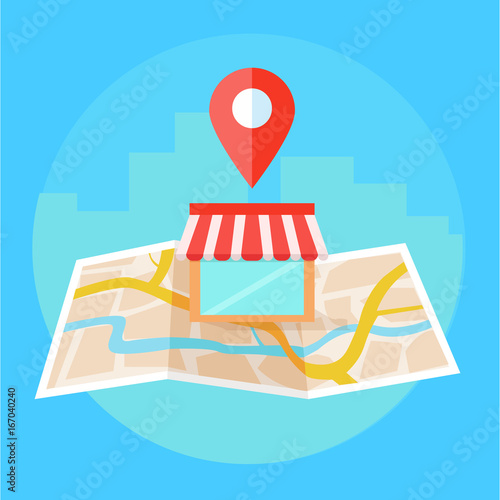 Local seo banner, Map and shop in realistic view.  Wall mural