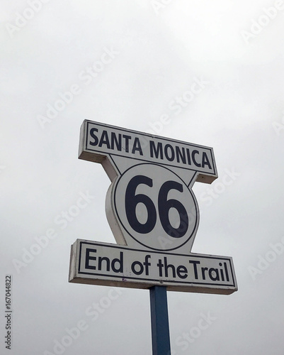 Route 66 Plate in the street of Los Angeles