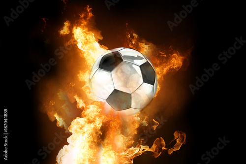 hot fire and football soccer ball silver 3d rendering