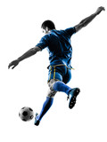 Fototapeta Sport - one caucasian soccer player man playing kicking in silhouette isolated on white background