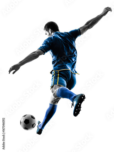fototapeta na ścianę one caucasian soccer player man playing kicking in silhouette isolated on white background