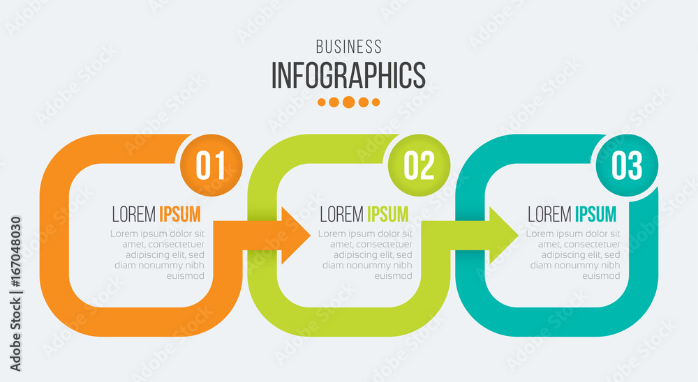 Photo  Vector 3 steps timeline infographic template with arrows