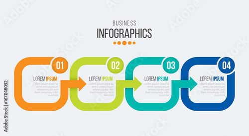 Photographie  Vector 4 steps timeline infographic template with arrows