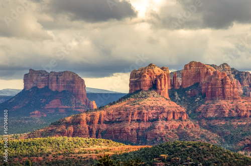 Canvas Prints Arizona Sedona Arizona mountain landscape with orange peaks and dramatic skies