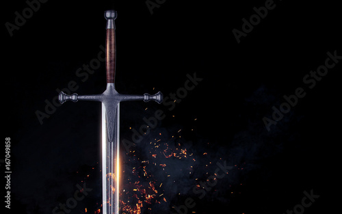 Metal sword on a dark background with clouds. 3d render Wallpaper Mural