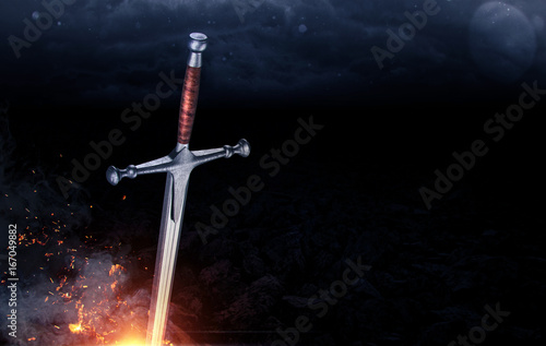 Metal sword on a dark background with clouds. 3d render Fototapeta