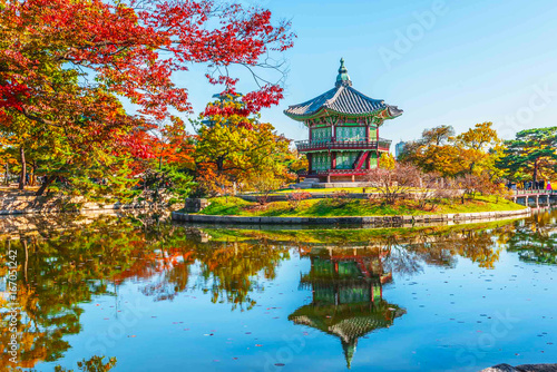 Poster de jardin Kyoto Gyeongbokgung Palace focus dark tones and a maple tree in autumn Korea