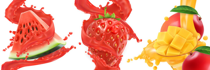 Fototapeta Do baru Splash of juice. Watermelon, strawberry, mango, summer fruits and berries. 3d realistic vector icon set