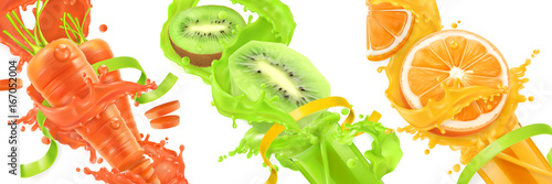 Carrots, kiwi, orange splash of juice Wallpaper Mural