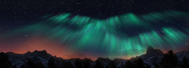 Kolorowe zorza polarna nad gwiaździstym nocnym niebem