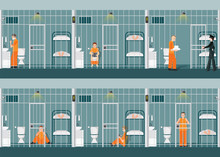 Rows Of Prison Cells With Life...