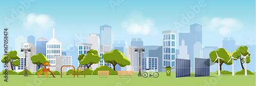 Poster Pool Green eco city and life , relax garden,urban landscape and industrial factory buildings concept.vector illustration