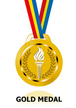メタリックの質感の金メダルのイラスト|聖火|ベクターデータ