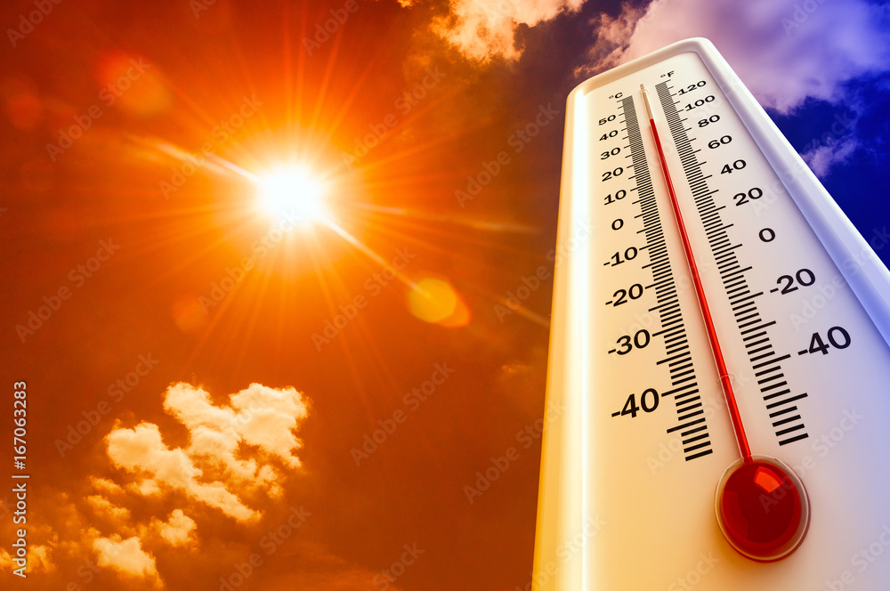 Fototapety, obrazy: Heat, thermometer shows the temperature is hot in the sky, Summer
