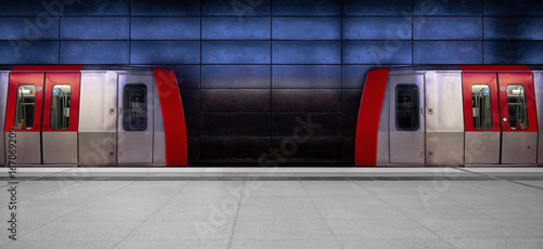 Tela Facing trains in a modern underground station