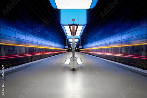 Long exposure of a modern underground station Fototapet