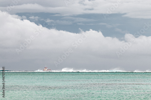 Fotografie, Obraz  Rarotonga, Cook Islands - April 12, 2017: Fishing boat anchored near Raroronga I