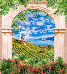 FototapetaDigital fresco: old archway, lighthouse and flowers. Big swimming ships and green plants.
