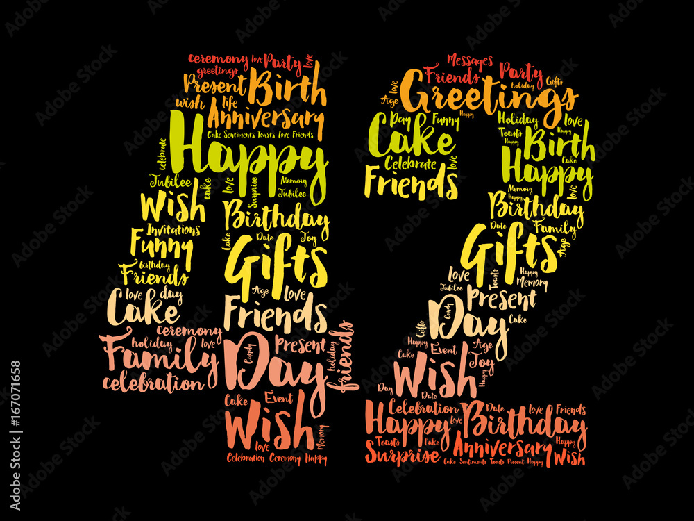 Photo Art Print Happy 42nd Birthday Word Cloud Collage Concept