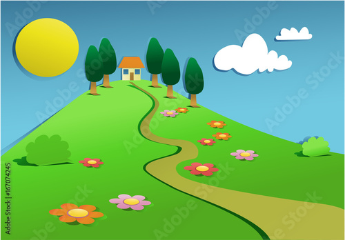 Foto op Canvas Lichtblauw Cartoon landscape with cut out paper elements