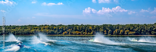 Tuinposter Water Motor sporten Water jets. Speed boats on water