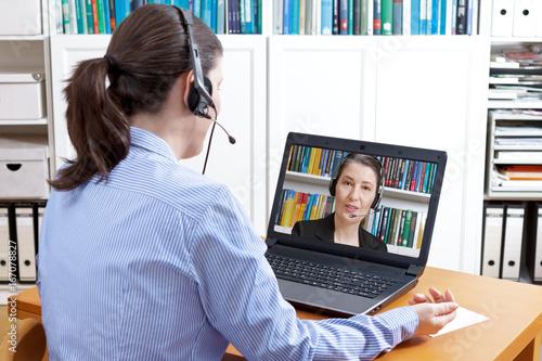 women headset computer video call
