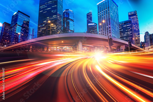 Photo Abstract speed technology background with Hong Kong City night scenes