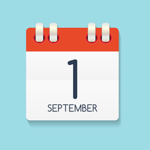 Flat Calendar Icon Of 1 Septem...