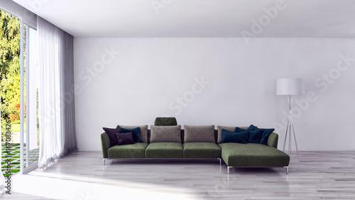 Fototapeta Modern bright living room, interiors. 3D rendering obraz na płótnie