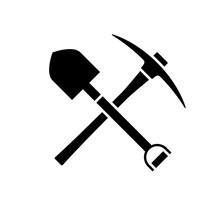 Shovel And Pickaxe Icon. Black...
