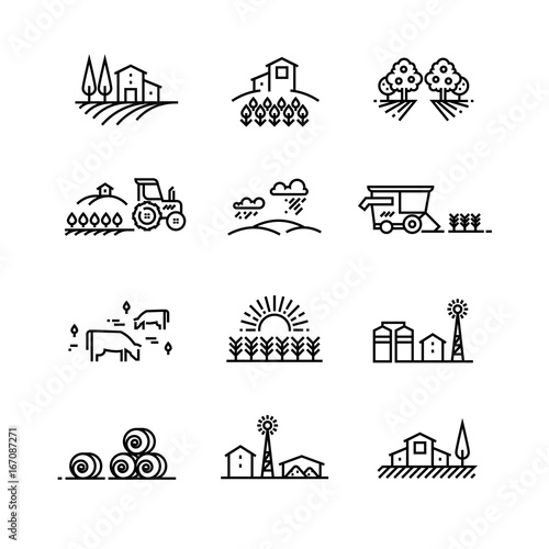 Village line landscapes with agricultural field and farm buildings. Linear farming vector concepts Fototapete