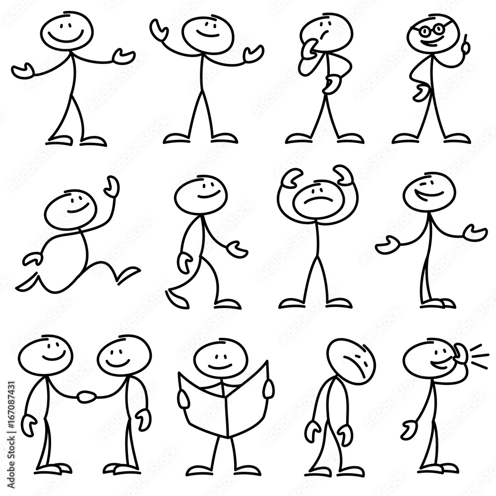 Fototapety, obrazy: Cartoon hand drawn stick man in different poses vector set