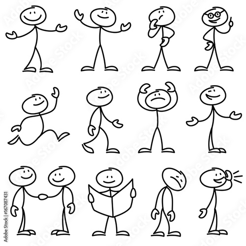 Cartoon hand drawn stick man in different poses vector set Obraz na płótnie