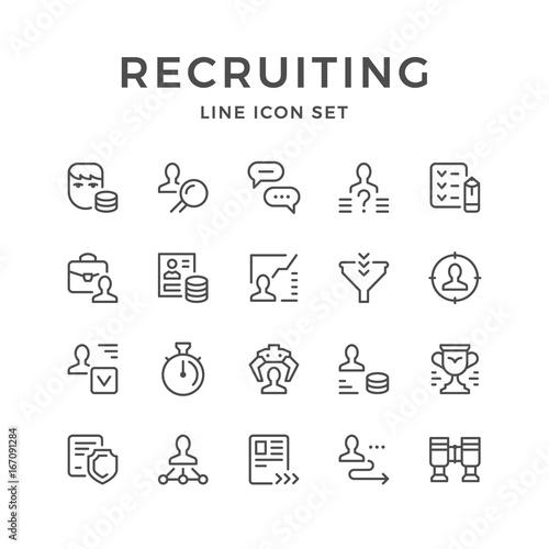 Cuadros en Lienzo Set line icons of recruiting