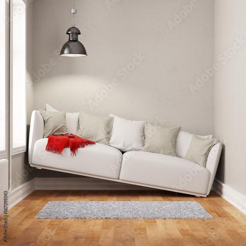 Sofa in einem zu kleinen Raum Wall mural