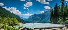 Beautiful Panoramic View At Kucherla Mountain Lake And Mountain Range. Belukha National Park, Altai Republic, Siberia, Russia