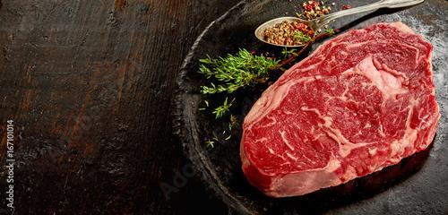 Piece of raw rib eye steak