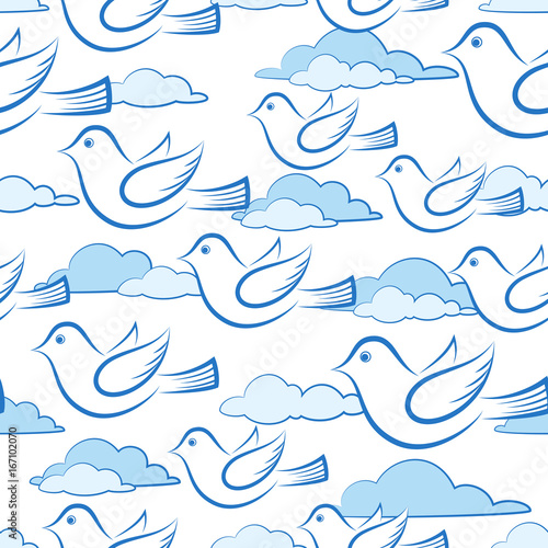 fototapeta na ścianę Seamless Background with Cartoon White Birds Flying in Sky with Clouds, Tile Illustration for Your Design. Vector