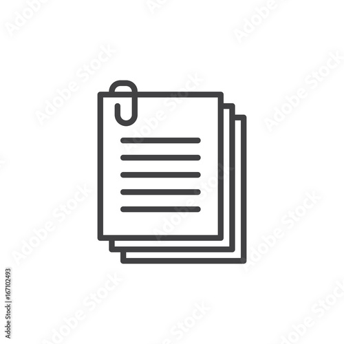 Fényképezés Clip files line icon, outline vector sign, linear style pictogram isolated on white