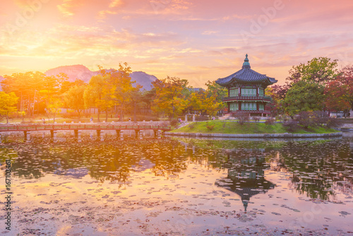 Photo sur Aluminium Seoul Autumn of Gyeongbokgung Palace in Seoul ,Korea
