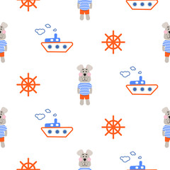Tapeta Marine boy pattern with sailor dog seamless vector. Cute child style textile fabric cartoon marine blue and orange background for bed linen, clothes and kid stuff.