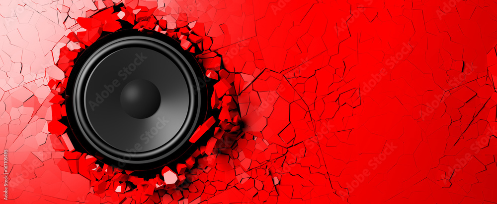 Fototapeta Loudspeaker on a red wall background. 3d illustration