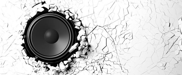 Loudspeaker on a white wall background. 3d illustration