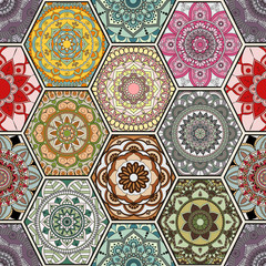 NaklejkaLuxury oriental tile seamless pattern. Colorful floral patchwork background. Mandala boho chic style. Rich flower ornament. Hexagon design elements. Portuguese moroccan motif. Unusual flourish print.