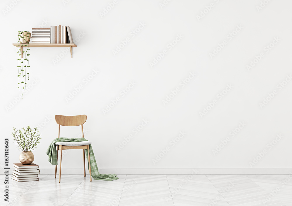 Fototapety, obrazy: Empty wall mock up with chair, shelf with books and plant in vase in clean white living room interior. 3D rendering.