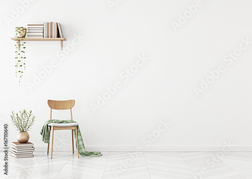 Fotografie, Obraz  Empty wall mock up with chair, shelf with books and plant in vase in clean white living room interior