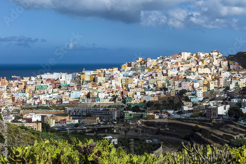 The colorful district of San Fransisco de Las Palmas Gran Canaria in the warm late evening light.