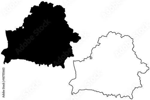 Carta da parati Belarus map vector illustration, scribble sketch Byelorussia